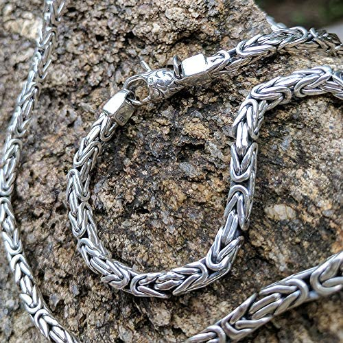 Woven Rope 925 Sterling Silver Necklace Men Chain All Lengths