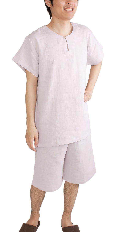 (パジャマ工房)パジャマ メンズ 半袖 かぶりタイプ 綿100% 二重ガーゼ[0504] B010N51AW8 L|パープル パープル L