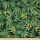 pot leaf fabric - Timeless Treasures Cannabis Leaf Green Fabric By The Yard