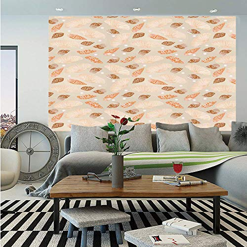 Pearls Decoration Huge Photo Wall Mural,Pattern with Pearls Seashells an Oysters Natural Marine Life Style Decor Beach Theme,Self-adhesive Large Wallpaper for Home Decor 108x152 inches,Tan Peach ()