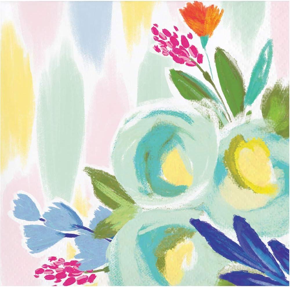 "Elise Brushed Floral 3 Ply Guest Towel Dinner Napkins 16 Pack 4/"" x 8/"" Watercolor"