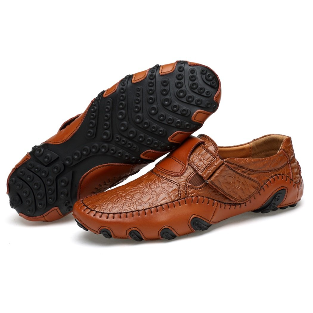 Mens Leather Summer Driving Shoes Slip On Loafers Casual Hiking Shoes
