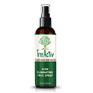 TreeActiv Acne Eliminating Face Spray, Facial Toner with Salicylic Acid to Cleanse, Tone, Balance Acne Prone Skin, Aftershave, Witch Hazel, Lemongrass, Sandalwood, Made in USA, 4 fl oz