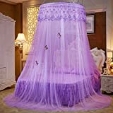 Lustar Court Style Mosquito Net Bed Canopy For Children Fly Insect Protection Indoor Decorative Height 270cm Top Diameter 1.2m Purple Easy Installation