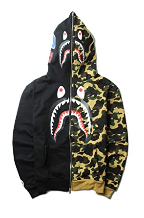 af66f589a NIMOO Winter Tide Brand Bape Stitching Camouflage Shark Hoodie Men/Women  Jacket at Amazon Men's Clothing store: