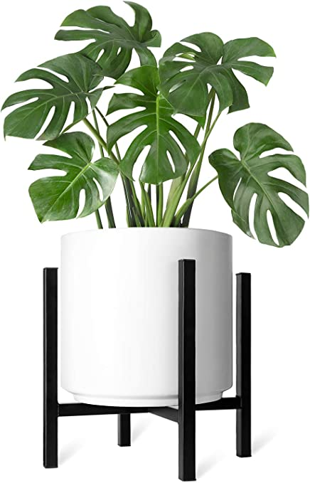Amazon Com Mkono Plant Stand Excluding Plant Pot Mid Century Modern Tall Metal Pot Stand Indoor Flower Potted Plant Holder Plants Display Rack Fits Up To 12 Inch Planter Garden Outdoor