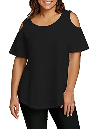96e53599845f2 Florboom Summer Soft Plus Size T Shirts Loose Solid Cold Shoulder Tops  (Black