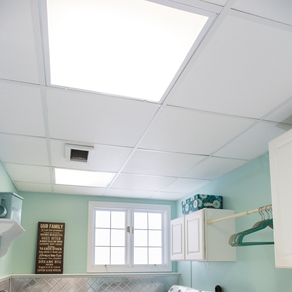 Genesis Easy Installation Stucco Pro Lay-In White Ceiling Tile/Ceiling Panel, Carton of 12 (2' x 2' Tile) by Genesis (Image #4)