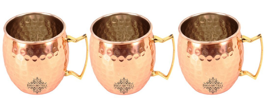 IndianArtVilla Set of 3 Copper Nickel Hammer Mug Moscow Mule Brass Handle 18 Oz each - Beer Wine Cocktail Drinkware Home Hotel Restaurant