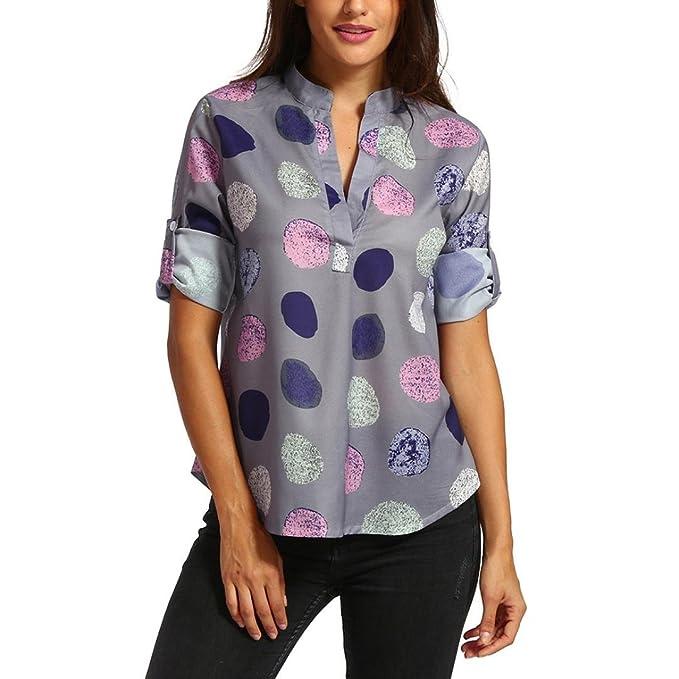 Cinnamou-Mujer Camiseta Boho de Gasa Blusa de Lunares Verano de Fiesta Mujer Largo Mangas