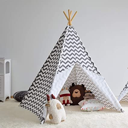 finest selection e3179 ef668 Asweets Kids Tent Canvas Teepee Foldable Play Tent for Children (Gray  Chevron)