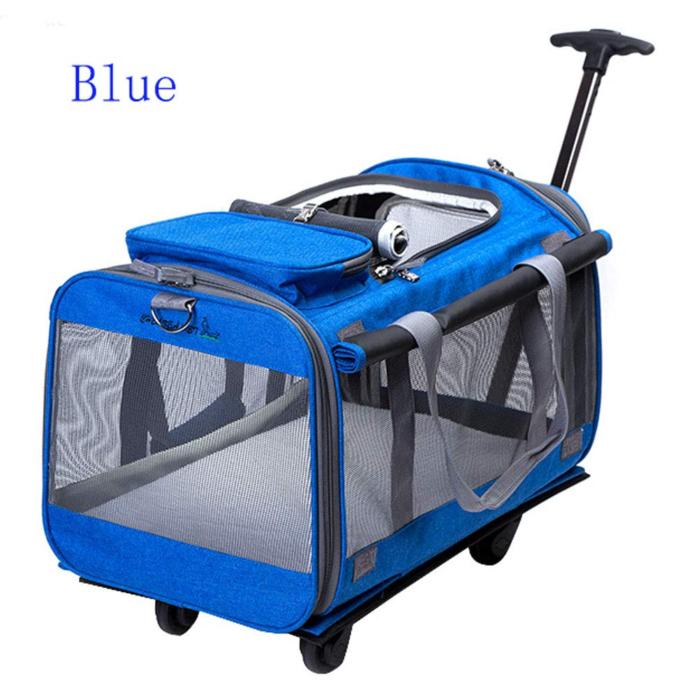 Royal bluee SHUXPanoramic Sunroof Super Breathable With Wheel Lever Luxury Pet Bag Stroller, With Comfortable Wool Pad, Hiking, Camping, Designed For Kittens, Puppies, 360° redating Mute Wheel (royal bluee)
