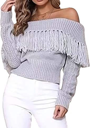 Xxxiticat Women S Sexy Tassel Off Shoulder Fringe Cardigan Long Sleeve Pullovers Sweaters Gy Grey At Amazon Women S Clothing Store
