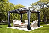 Sojag Meridien Hard Top Sun Shelter, 10′ by 14′, Charcoal