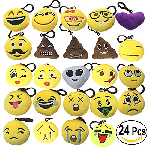 Emoji Keychains Set - Mini Pop Toy Plush Pillows Key Chains - Kids Emoji Party Supplies Favors - Emoticon Cushion Car Key Ring Pendant Keychain Decorations - Funny Backpack Charms Emoji Clips 24 PCS (Birthday Charms Heart)