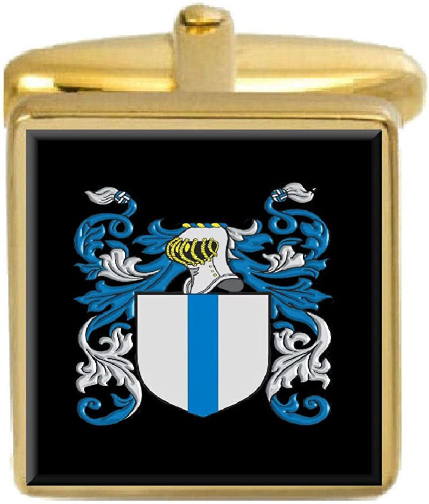 Select Gifts Reddy Ireland Family Crest Surname Coat Of Arms Gold Cufflinks Engraved Box