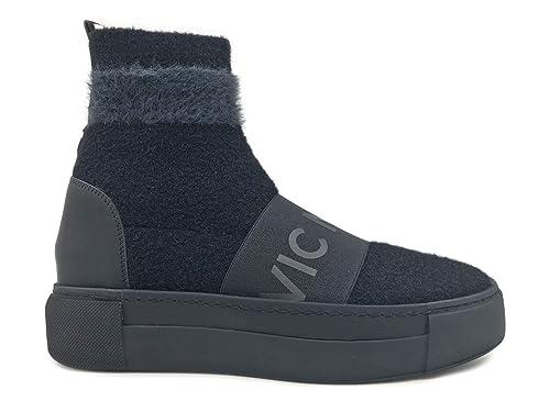 Vic Matie  6704 Nero Sneaker Donna in Pelle E Tessuto Nero Black 64befa4e7cb
