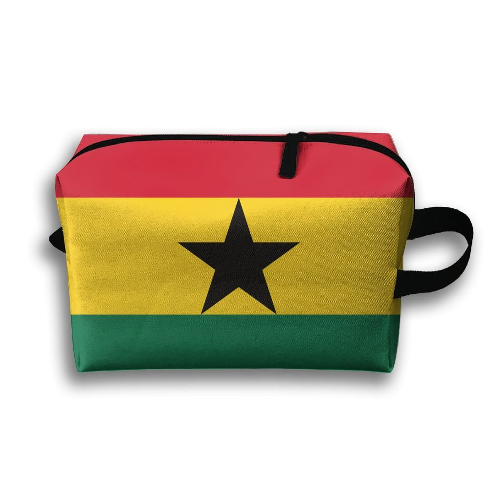 50%OFF Leisue Colorful Ghana Flag Stripe Cosmetic Bag Zipper Makeup Accessories Pouch Toiletries Bags Pen Pencil Power Lines Travel Cases Hanging Documents Handbag