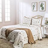 Elegant Life 100% Cotton Reversible Luxury Priscilla Floral Pattern Embroidery Bed Quilt Coverlet Bedspread, King Size, 108' x 95""