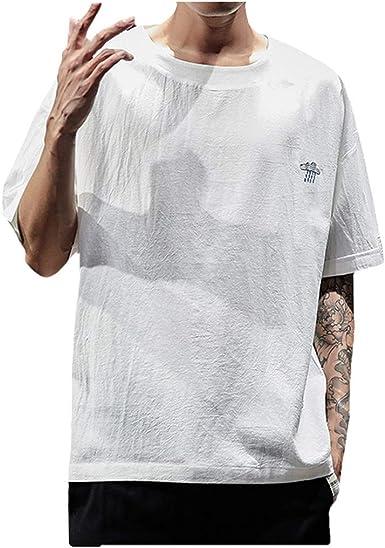 HucodeVan Camisas Manga Corta Hombre Casual Bordado Transpirable Algodón Lino Clásico Remera Vacaciones Playa Camisetas Color sólido Tops Ropa: Amazon.es: Ropa y accesorios
