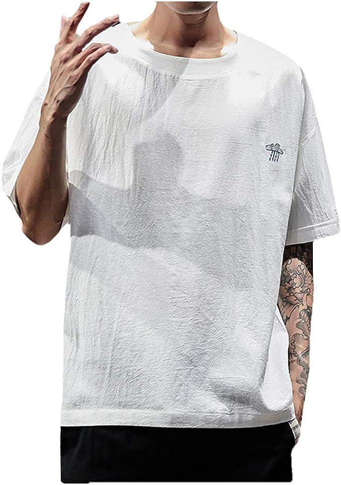 HucodeVan Camisas Manga Corta Hombre Casual Bordado ...