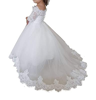 44bc2e5b4f9 LanBen New Lace Applique Wedding Party Flower Girl Dresses First Holy  Communion UK 2019  Amazon.co.uk  Clothing