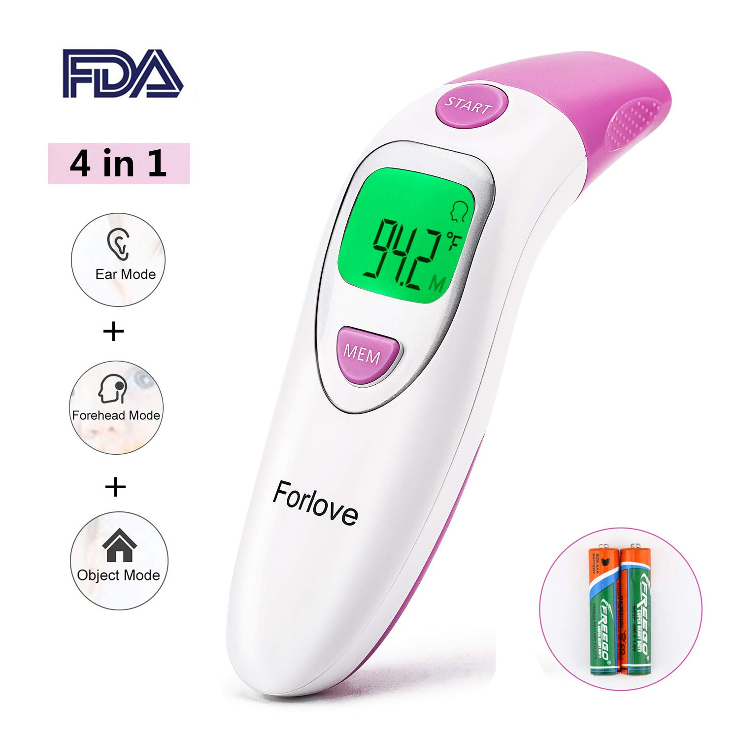 Infrared Thermometer, Forlove Digital Ear and Forehead Thermometer Professional 4 in 1 Suitable for Baby, Kids, Adults - FDA Approved (Pink)