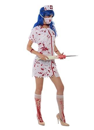 Amazon Com Jj Gogo Naughty Nurse Costume Halloween Sexy Bloody
