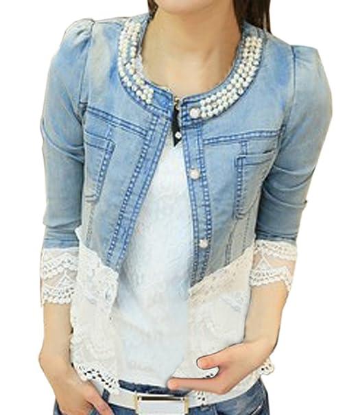 Neuer Frauen Jeansjacke Perlen Spitze Nähen Jacke War Dünn Jacket
