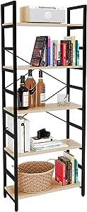 Bestier Bookshelf 5 Tier Bookcase Adjustable Shelves, Multifunctional Display Rack Storage Shelf Organizer Home Office Funiture Shelf P2 Wood with Metal Frame Kitchen Storage Shelves Standing Shelf