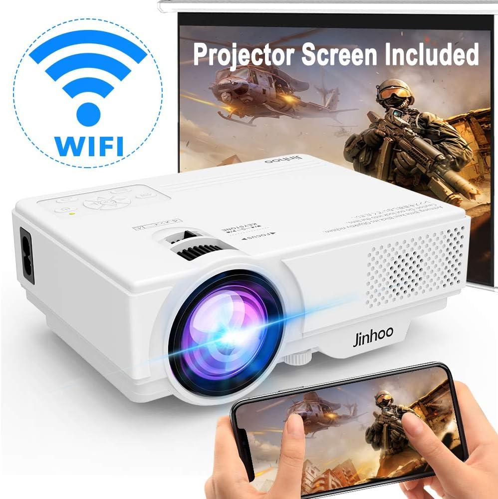 Proyector WiFi] Proyector inalámbrico soporta 1080P Full HD [con pantalla de proyector], 5000 Lux Mini proyector de vídeo compatible con Smartphone, Tablet, TV Stick, reproductor de juegos, Home Theater Blanco.: Amazon.es: Electrónica