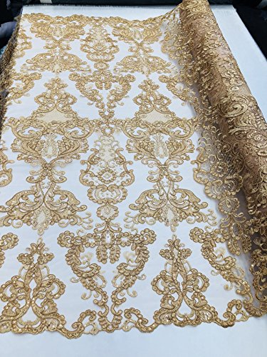 Damask Sequins Embroidery Flower Pattern Lace Fabric - Gold - Floral Mesh Decor Bridal Sequined Fabrics By The Yard (Embroidery Gold Fabric)