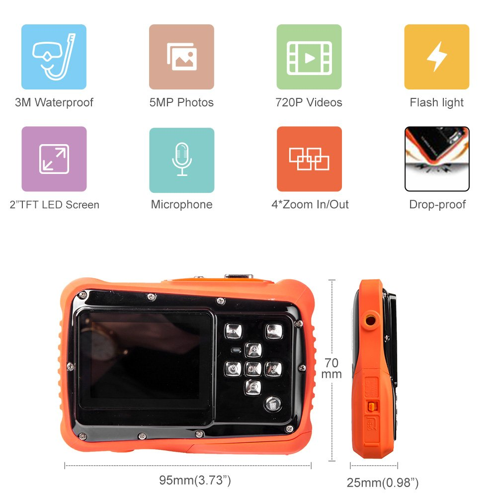 Digital Camera for Kids, Waterproof Sport Action Camera Camcorder Cam with 2.0'' LCD Screen,TOP-MAX Super HD Underwater Digital Video Camera Record Cam for Sports Swimming Diving and Beaching by TOP-MAX (Image #3)