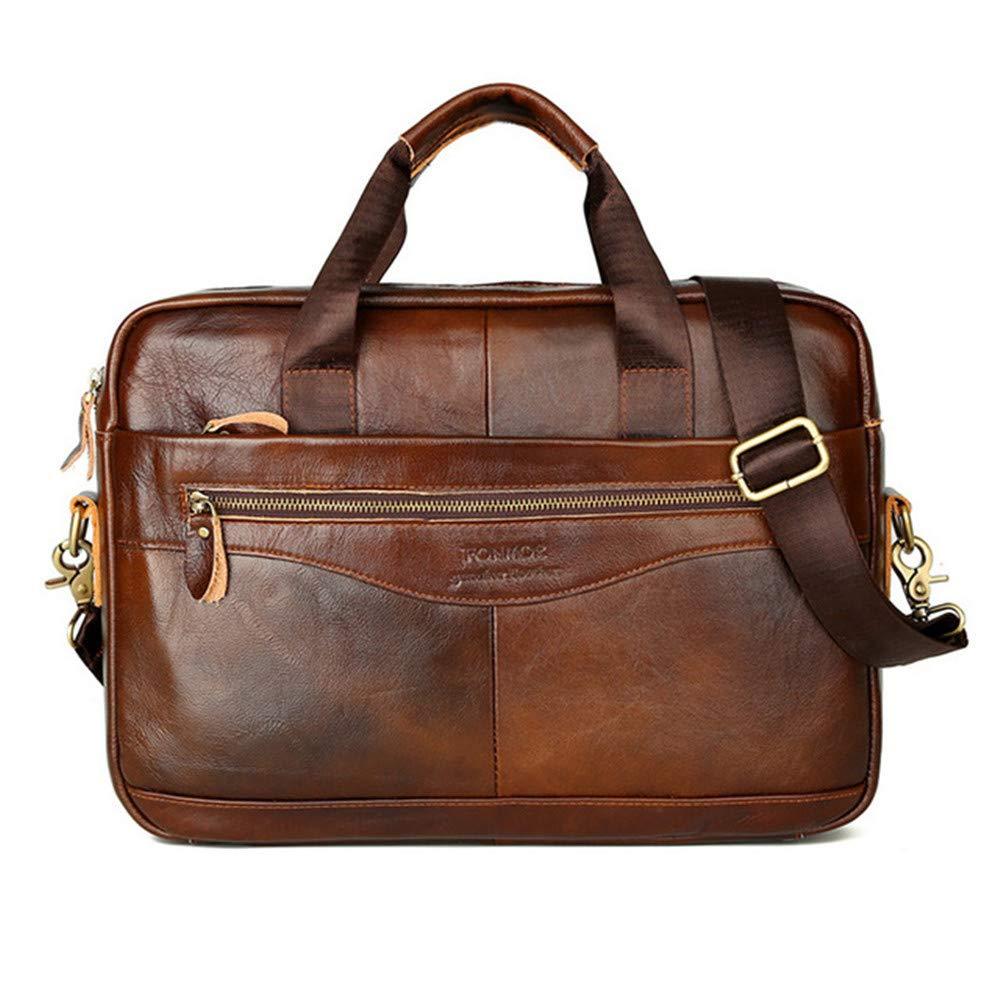 AHDA Men's Bags,Shoulder Bags,Leather Messenger Soft Leather Briefcase Satchel Laptop,B,38CM7CM27CM