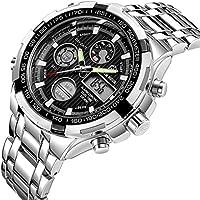 De Luxe Entièrement en acier analogique Digital montres pour homme LED mâle extérieur Argent Noir Sport militaire Montre-bracelet