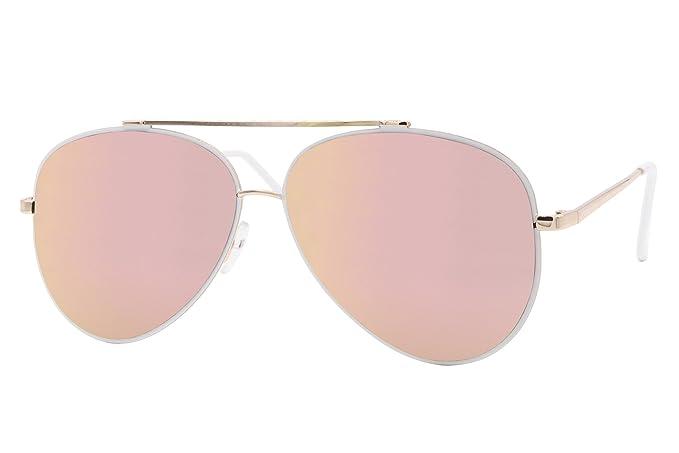 Cheapass Sonnenbrille Aviator Rosé-Gold Pilotenbrille Verspiegelt UV400 Metall Damen Frauen Nb4ZBw
