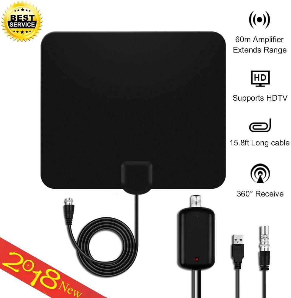 50 millas Antena de TV, 2018 Antena Interior HDTV Mayor Rango de Recepción de 80 KM, amplificador de señal USB para reforzar las frecuencias UHF VHF ...