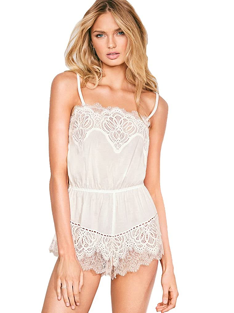 baf011c2a3612 Victoria's Secret Crochet Lace Romper Coconut White S at Amazon Women's  Clothing store: