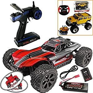 Redcat Racing Blackout XBE Pro Brushless Electric RC 1/10 Scale Buggy (Red) Bundle (3 Items) Complete Buggy Kit w LIPO Battery 2.4 GHz Radio Controller + Ultra Mini Palm Sized RC Truck + RedCat Decals