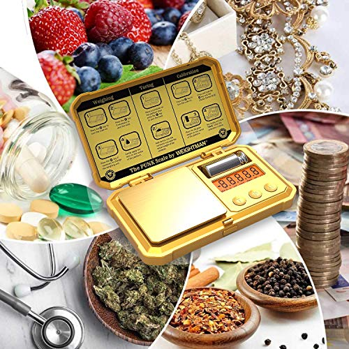 WEIGHTMAN Gram Scale, 200/0.01g Scale Gram, 6 Units, Small Digital Scale for Jewelry, Gold, Herb, Medicine, Calibration Set and Batteries Included