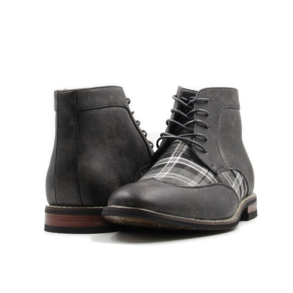 Men's Lace up Plaid Oxford Wing Tip Dress Classic Formal Ankle Boots (10, Grey/Grey/White)