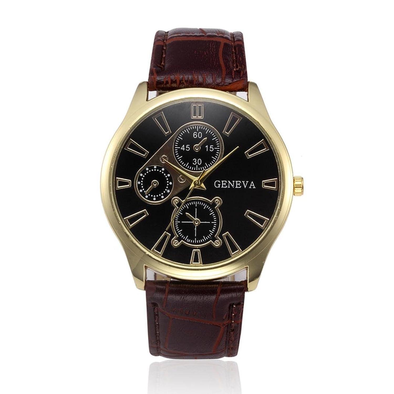 Big Sale 。auwerメンズクォーツ腕時計,レトロデザインアナログ合金クォーツ腕時計PUレザーバンド時計 AS show D  D B079QXKWYT