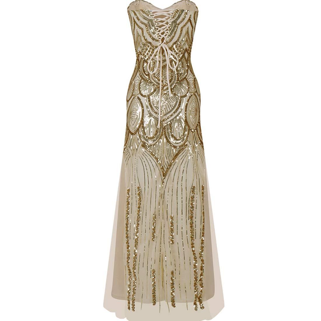 Souliyan Women's Slim Strap FanShaped Sequined Tube Top Dress (Size   S)