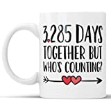 9th Anniversary Coffee Mug - 3285 Days Together But Who's Counting Funny Wedding Anniversary Gift, Nine year Anniversary Gifts, Jubilee Gift Cup (11 oz)