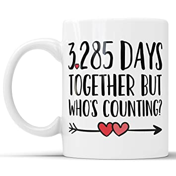 Amazon.com: 9th Anniversary Coffee Mug - 3285 Days Together But ...