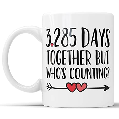 Amazon 9th anniversary coffee mug 3285 days together but 9th anniversary coffee mug 3285 days together but whos counting funny wedding anniversary gift negle Choice Image
