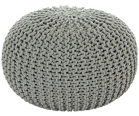 Strickhocker Pouf Sitzpouf Sitzpuff Grobstrick-Optik Ø 45 cm Höhe 30 cm 3 Farben