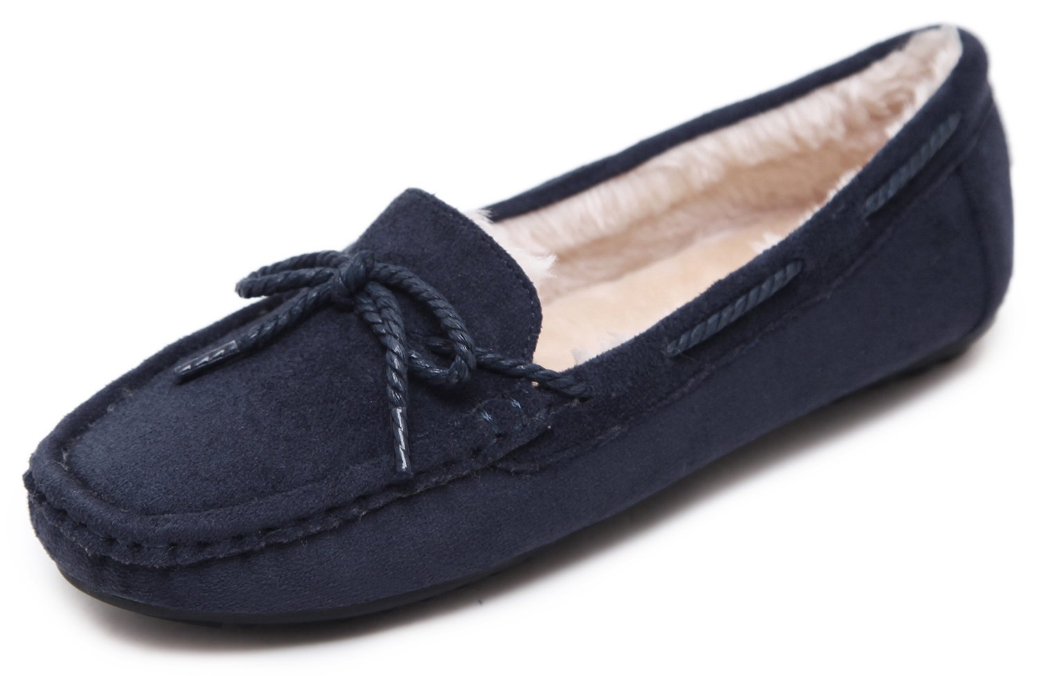 Women's Winter Moccasin Lace Bowtie Design Plush Padded & Lining Suede Low-Top Loafer Flats Home Slipper Shoes Bow Slip On Slip-On Cozy Slippers Thermal Warm, Navy Blue