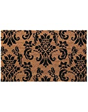 New Natural Coir Non Slip Welcome Floor Entrance Door Mat Anti Slip Indoor Outdoor Doormat (Damask)