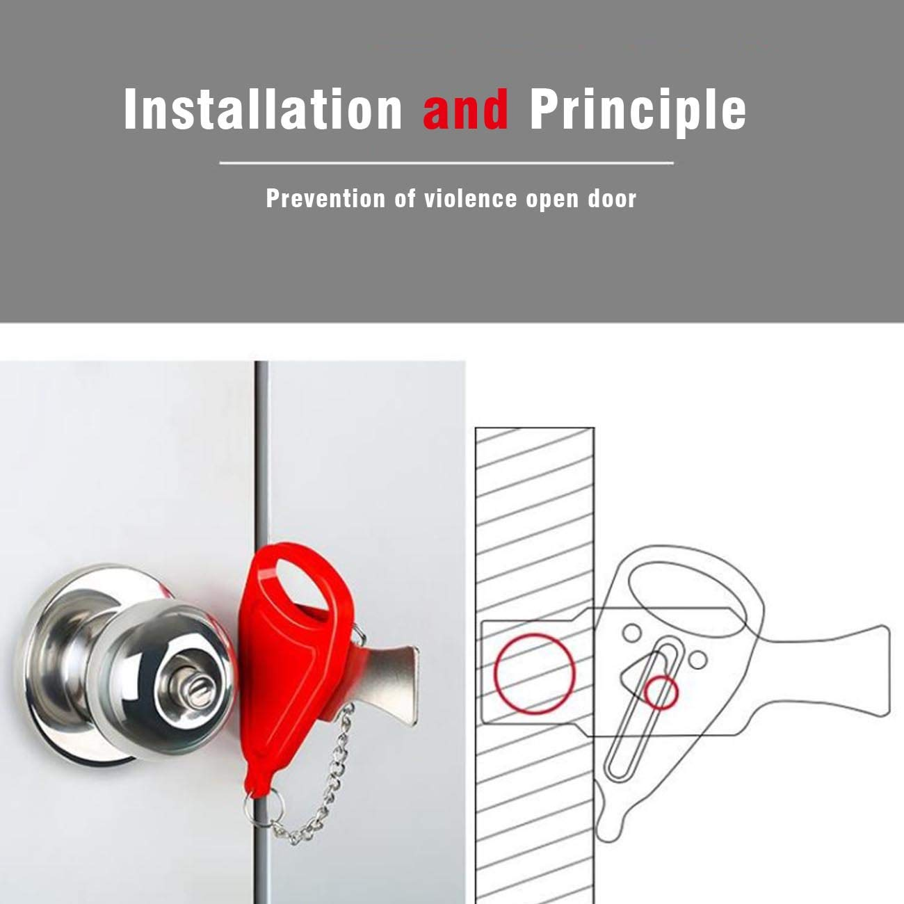 Genleas 2 Pack Portable Security Door Lock /& Window Lock Hardware Safety Security Tool for Home Privacy Travel Hotel Women Travel Anti-Theft Lock Easy Install